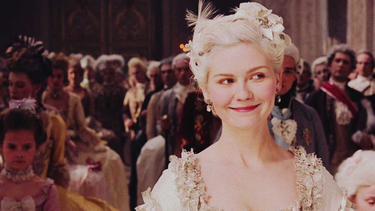 a smiling marie antoinette portrayed in a movie