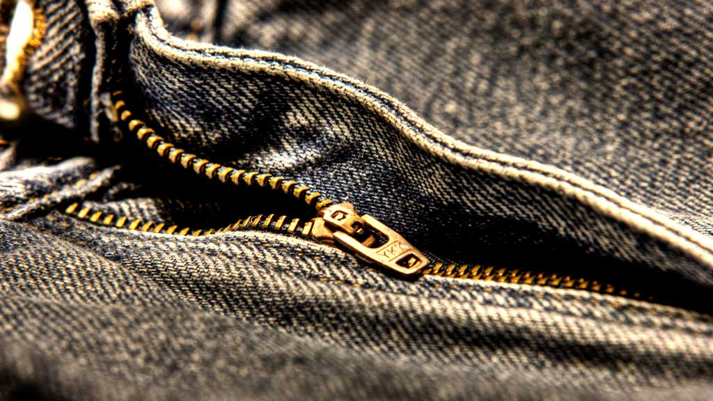 zipper on a pair of jeans